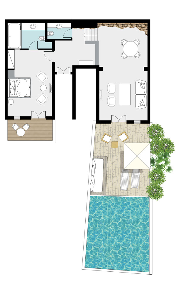 Sample Grand Blu Suite on the Waterfront with Private Pool floorplan