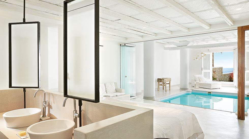 Private indoor pool suites  Luna Blu Suite Private Indoor Pool | Mykonos Blu Luxury Accommodation
