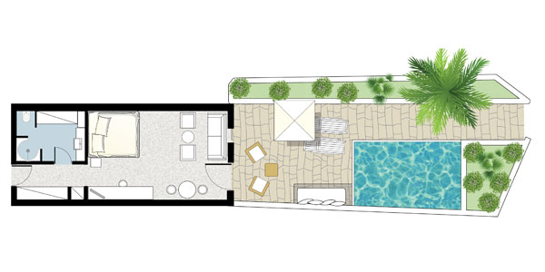 Open Plan Suite with Private Heated Pool Floorplan