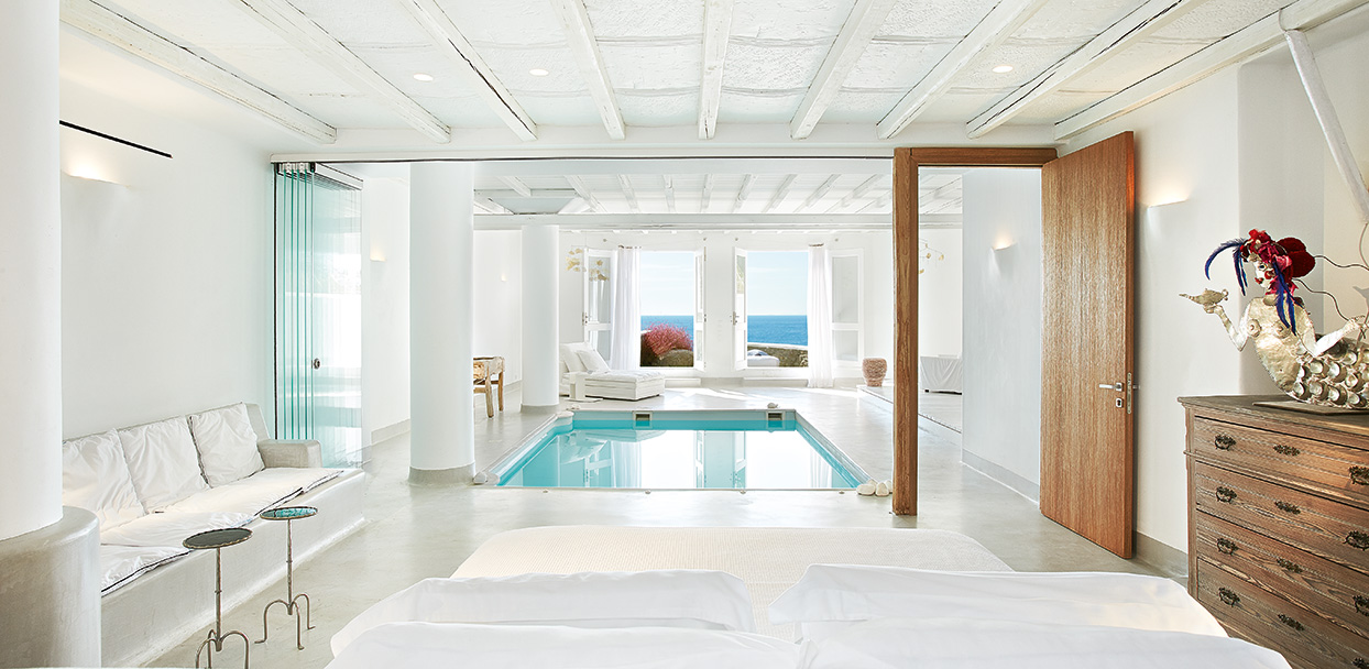 Private indoor pool  Luna Blu Suite Private Heated Indoor Pool | Mykonos Blu
